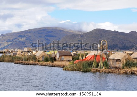Uros islands with small houses. Titicaca lake. Peru.  #156951134