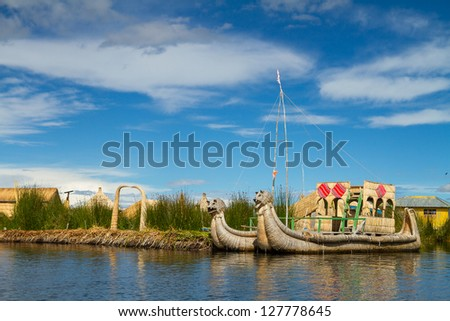 Uros, the floating and tourist  Islands of lake Titicaca Puno Peru South America