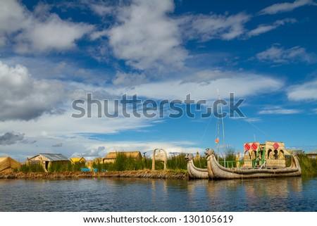Uros, the floating and tourist  Islands of lake Titicaca Puno Peru South America