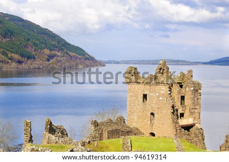 "Urquhart Castle on Loch Ness in Scotland the home of the clan Grant, and the place of the most sightings of ""Nessy"" the famous Loch Ness monster"