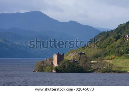 Urquhart Castle on the shores of Loch Ness in the Scottish Highlands UK