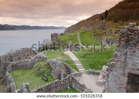 Urquhart Castle on the shores of Loch Ness, Scotland