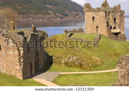 Urquhart Castle ruins at Loch Ness in Scotland, blown up in 1692 by the Clan Grant who owned it at the time, to stop it becoming a Jacobite stronghold