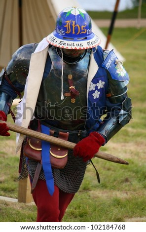 URQUHART CASTLE, SCOTLAND - MAY 6: An unidentified actor entertains the crowds at the Grand Tournament of Foote event on May 6, 2012 in Urquhart Castle, Scotland.