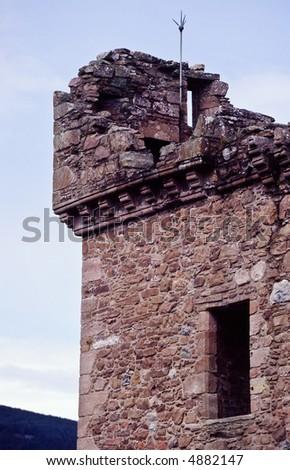 Urquhart Castle tower at Loch Ness Scotland