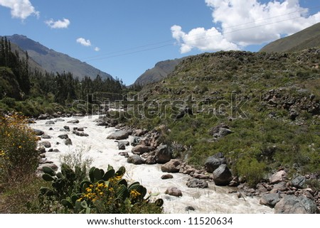 Urubamba River in Peru, along the famous Inca Trail