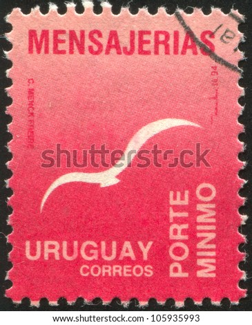 URUGUAY - CIRCA 1993: A stamp printed by Uruguay, shows Flying Bird, circa 1993