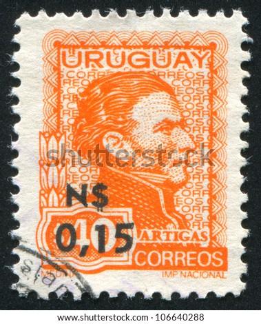 URUGUAY - CIRCA 1972: A stamp printed by Uruguay, shows Jose Gervasio Artigas, circa 1972 - stock photo