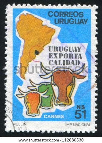URUGUAY - CIRCA 1987: stamp printed by Uruguay, shows Beef  Exports, circa 1987