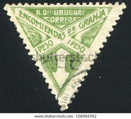 URUGUAY - CIRCA 1929: stamp printed by Uruguay, shows Graphic Design, circa 1929