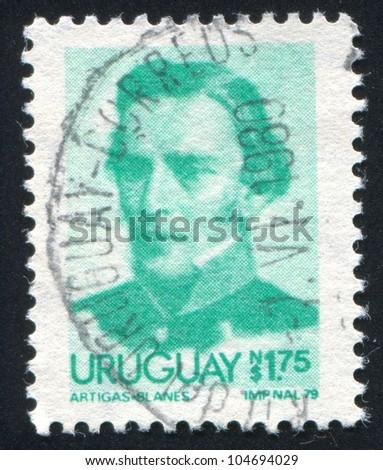 URUGUAY - CIRCA 1976: stamp printed by Uruguay, shows Jose Gervasio Artigas, circa 1976