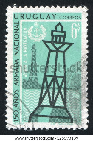 URUGUAY - CIRCA 1968: stamp printed by Uruguay, shows Lighthouse and Buoy, circa 1968