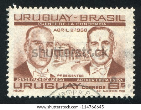 URUGUAY - CIRCA 1968: stamp printed by Uruguay, shows Presidents Jorge Pacheco Areco of Uruguay and Arthur Costa, circa 1968