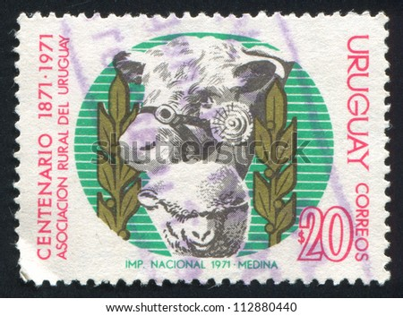 URUGUAY - CIRCA 1971: stamp printed by Uruguay, shows Ram and Bull, circa 1971