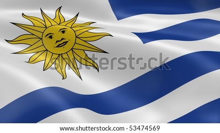 Uruguay flag in the wind. Part of a series.