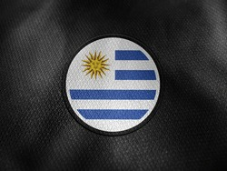 Uruguay flag isolated on black with clipping path. flag symbols of Uruguay. Uruguay flag frame with empty space for your text.