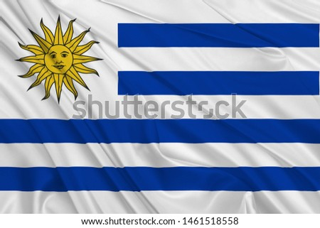 Uruguay Flag of Silk, Flag of Uruguay fabric texture background. #1461518558