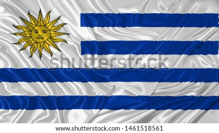 Uruguay Flag of Silk, Flag of Uruguay fabric texture background. #1461518561