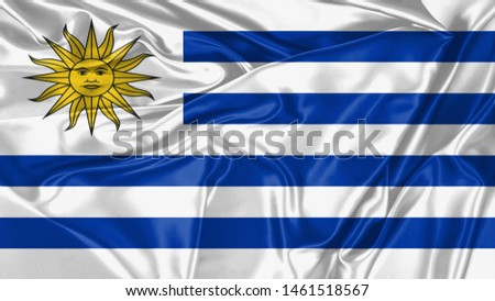 Uruguay Flag of Silk, Flag of Uruguay fabric texture background. #1461518567