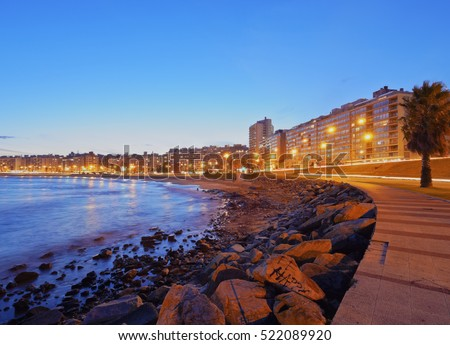 Shutterstock Uruguay, Montevideo, Twilight view of the Pocitos Coast on the River Plate.