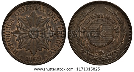 Uruguay Uruguayan copper coin 4 four centesimos 1869, radiant sun in center, date below, digit of value on striped background within central circle flanked by sprigs,