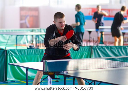 URYUPINSK- RUSSIA - MARCH 17: athlete table tennis, ping-pong, Alexander Kondrashov (pictured), 14 Open Championship of memory Uryupinsk NS Demidenko, Uryupinsk-Russia, March 17 2012.
