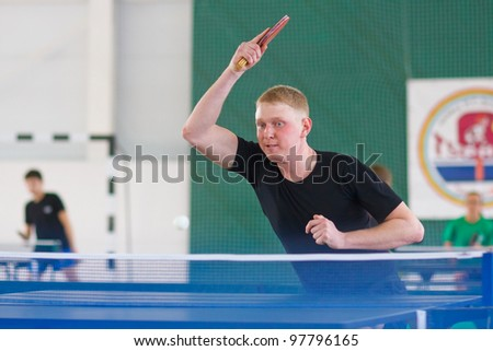 URYUPINSK- RUSSIA - MARCH 17: athlete table tennis, ping-pong, Andrew Neushkin (pictured), 14 Open Championship of memory Uryupinsk NS Demidenko, Uryupinsk-Russia, March 17 2012.