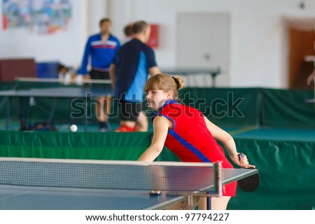 URYUPINSK- RUSSIA - MARCH 17: athlete table tennis, ping-pong Anna Nesgovorova (pictured), 14 Open Championship of memory Uryupinsk NS Demidenko, Uryupinsk-Russia, March 17 2012.