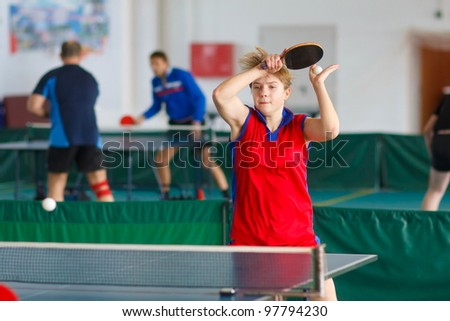 URYUPINSK- RUSSIA - MARCH 17: athlete table tennis ping-pong Anna Nesgovorova (pictured), 14 Open Championship of memory Uryupinsk NS Demidenko, Uryupinsk-Russia, March 17 2012.