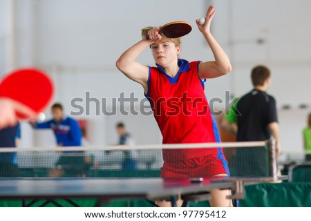 URYUPINSK- RUSSIA - MARCH 17: athlete table tennis, ping-pong, Anna Nesgovorova (pictured), 14 Open Championship of memory Uryupinsk NS Demidenko, Uryupinsk-Russia, March 17 2012.