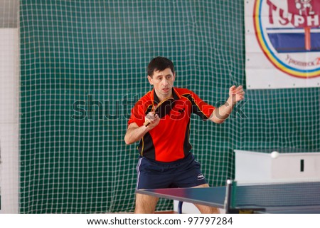 URYUPINSK- RUSSIA - MARCH 17: athlete table tennis, ping-pong, Dmitry Demidenko(pictured), 14 Open Championship of memory Uryupinsk NS Demidenko, Uryupinsk-Russia, March 17 2012.