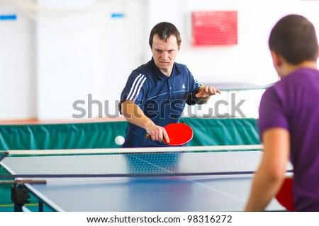 URYUPINSK- RUSSIA - MARCH 17: athlete table tennis, ping-pong, Ruslan Kutsenko (pictured), 14 Open Championship of memory Uryupinsk NS Demidenko, Uryupinsk-Russia, March 17 2012.