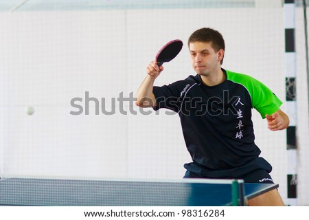 URYUPINSK- RUSSIA - MARCH 17: athlete table tennis, ping-pong, Sergey Gribanov (pictured), 14 Open Championship of memory Uryupinsk NS Demidenko, Uryupinsk-Russia, March 17 2012.