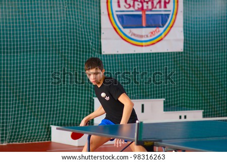 URYUPINSK- RUSSIA - MARCH 17: athlete table tennis, ping-pong, Young Max Nevedrov, 14 Open Championship of memory Uryupinsk NS Demidenko, Uryupinsk-Russia, March 17 2012.