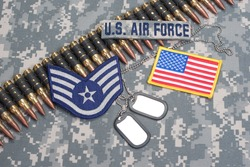 US AIR FORCE concept - camouflage background with US flag
