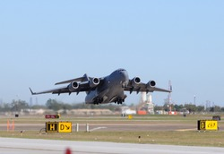 US Air Force heavy cargo jet taking off