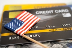 US America flag on credit card. Finance development, Banking Account, Statistics, Investment Analytic research data economy, Stock exchange trading, Business company concept.