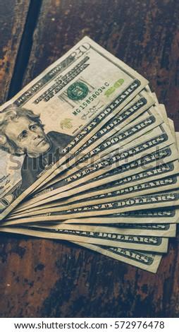 Twenty dollar bills fanned out Images and Stock Photos