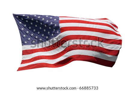 US-American Flag, isolated on white background