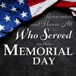 US American flag over Remember and Honor All Who Served on this Memorial Day Text. USA national holiday.