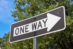US American one way sign