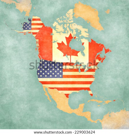 US and Canada on the outline map of North America. The Map is in vintage summer style and sunny mood. The map has a soft grunge and vintage atmosphere, which acts as watercolor painting on old paper.