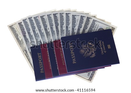 US and Russian passports with stack of US 100 dollars bills