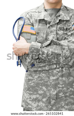 US Army doctor holding stethoscope near his shoulder
