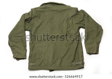 US Army Green Military Jacket Back Side on White Background