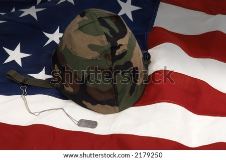US Army helmet and dog tag on US flag background