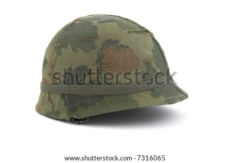 US Army helmet - Vietnam era - on white background