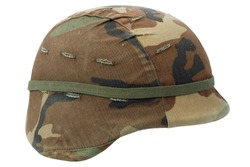 us army kevlar helmet with camouflaged cover isolated on white