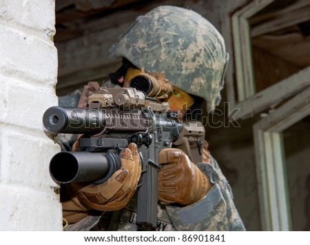 US Army soldier in urban combat