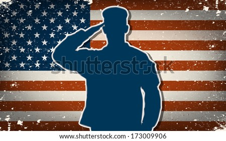 US Army soldier saluting on grunge american flag background